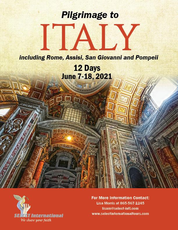 Pilgrimage to Italy June 7-18, 2021 21JA06ITLM