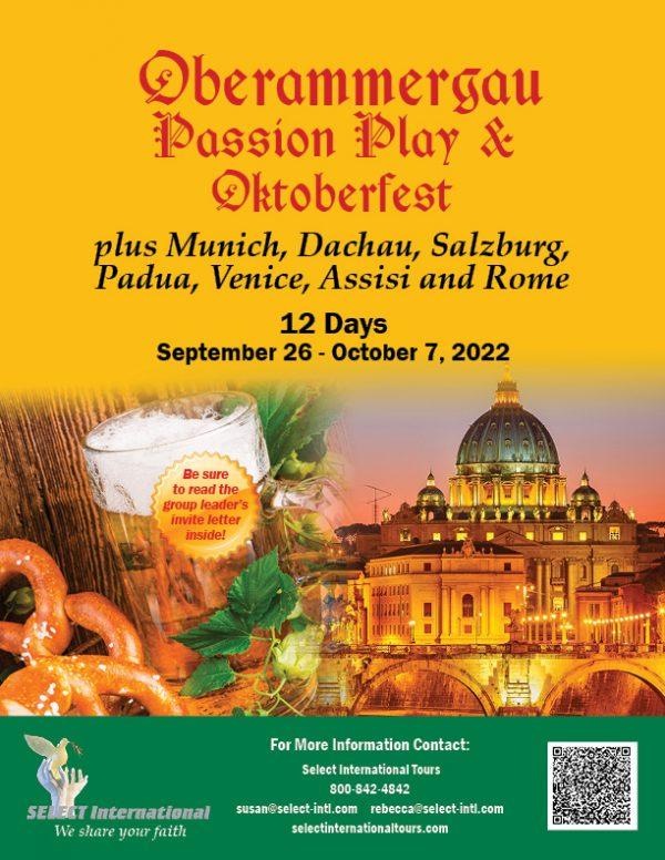 Oberammergau Passion Play and Oktoberfest plus Munich, Dachau, Salzburg, Padua, Venice, Assisi, and Rome September 26 - October 7, 2022 - 22SP09OBPC
